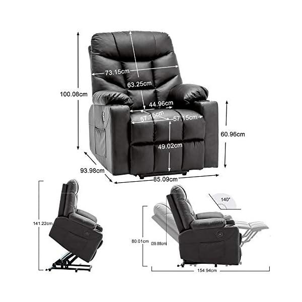 MCombo Fauteuil de relaxation électrique en cuir synthétique avec 2 USB,7288
