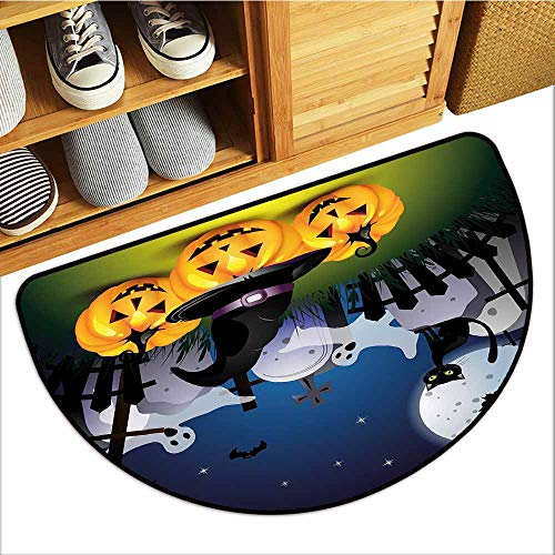 All-Natural Rubber Doormats, Halloween Non-Slip Rugs for Kids Room, Funny Cartoon Design with Pumpkins Witches Hat Ghosts Graveyard Full Moon Cat (Multicolor, H20 x D32 Semicircle)