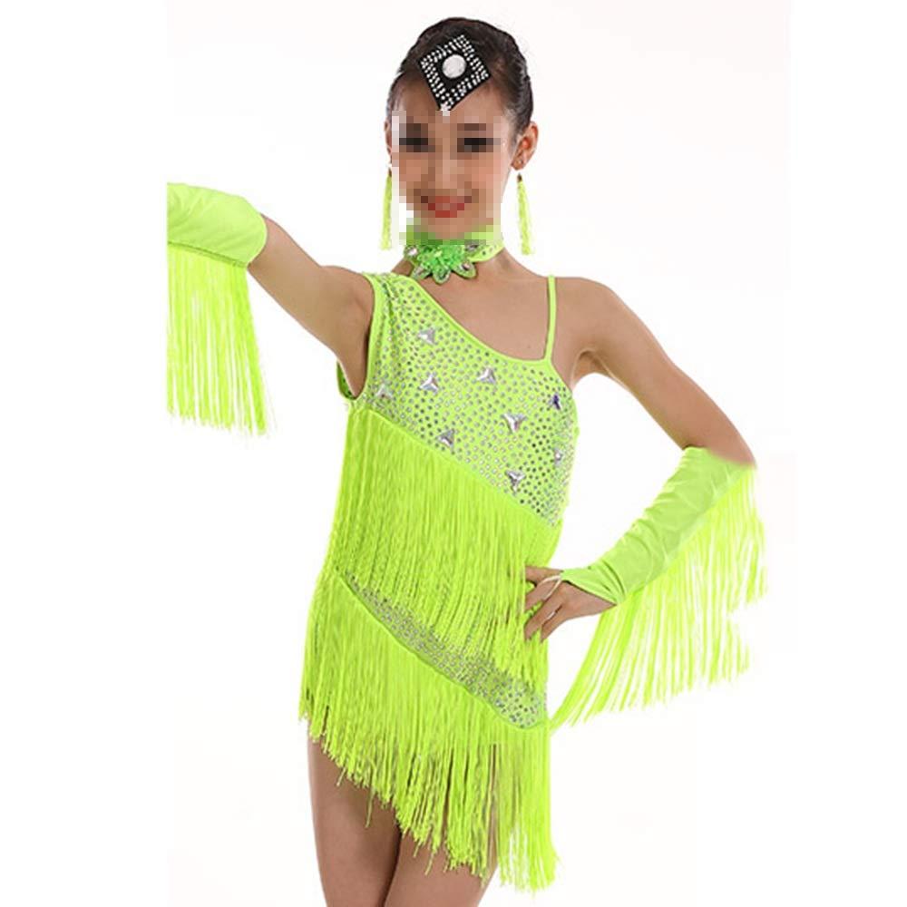 Vert 120cm Tango Dance Robe Outfits Tango Dance Theme Enfants Girls Robe Outfits pour Adultes (Couleur   Noir, Taille   150cm)