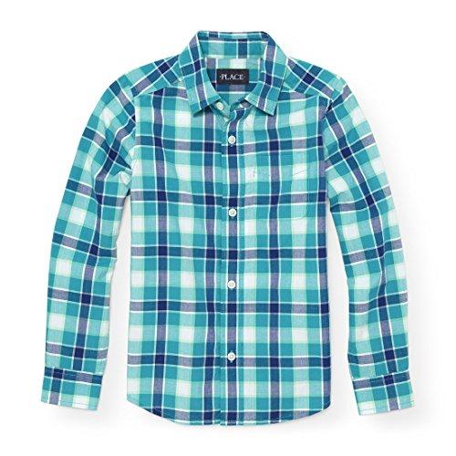 Plaid Dress Shirt - The Children's Place Big Boys' Long Sleeve Poplin Plaid, Lagoon 88216, XL (14)