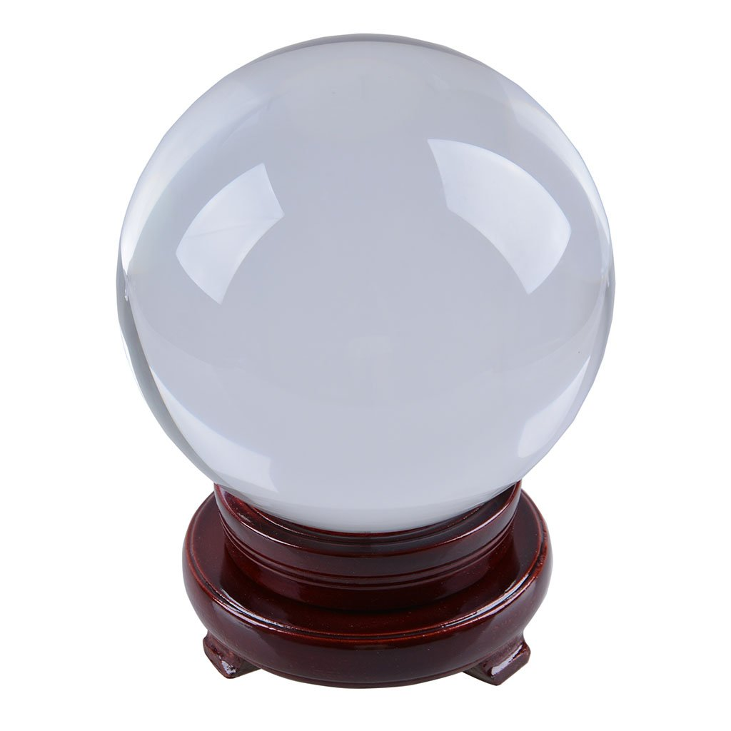 LONGWIN 150mm (5.9 inch) Divination Crystal Ball Glass Globe Sphere Free Wooden Stand