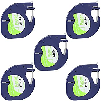TIANSE 5 Pack Compatible for DYMO LetraTag Labeling Tape 10697 (91200 91220 91330 59421 S0721510) Black print on White paper tape for LetraTag Label Makers, 1/2 in. x 13 ft.
