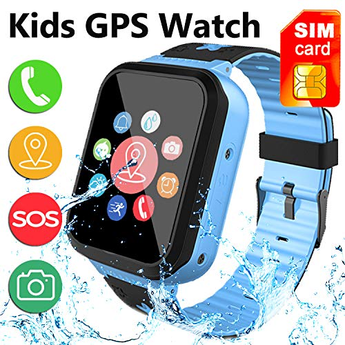 [SIM Card Included] Kids Smart Watch Phone, IP68 Waterproof Smartwatch with LBS/GPS Tracker SOS Phone Alarm Clock Flashlight Back to School Gift for 3-12 Year Old Boys Girls (Blue)