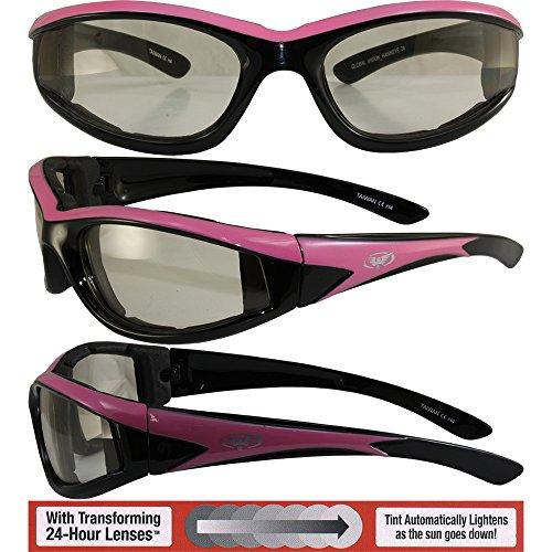 Global Vision Hawkeye 24Moto Lunettes de soleil Rose et Noir Dual-color cadres avec 24Hour transformant clair au fumée Photochromique et étui en microfibre pour le rangement et sûr de nettoyage dob