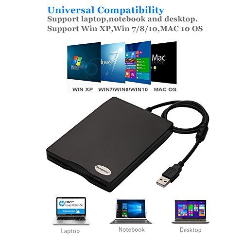 3.5'' USB External Floppy Disk Drive Portable 1.44 MB FDD PC Windows 2000/XP/Vista/7/8/10 Mac,No Extra Driver Required,Plug Play,Black by Chuanganzhuo (Image #2)