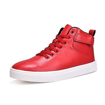 Hy Zapatos Casuales para Hombres Artificial PU Primavera/Otoño Cómodas Zapatillas Zapatillas Altas Zapatillas Blancas