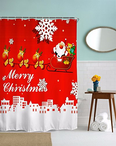lk Deer Pulling Sleigh Santa Claus Carrying Gifts Christmas Holiday Print Waterproof Mildew Proof Fabric Polyester Heavy-Duty Shower Curtains For Bathroom 180x180 cm / 72x72 Inch ()