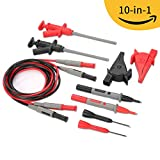 Janisa 10-in-1 Test Leads Kit 10 Pieces Meter Leads Set Electronic Automotive Probes Kit for Multimeter and Clamp Meter with Alligator Clips and banana plug
