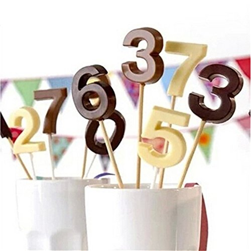 Haodou Moldes Silicona Alfabeto N/úmero 0-9 3D Lollipop Agujero Fondant Cake Decoraci/ón Molde Herramientas de La Torta Pasta de Az/úcar del Caramelo Moldes de Chocolate