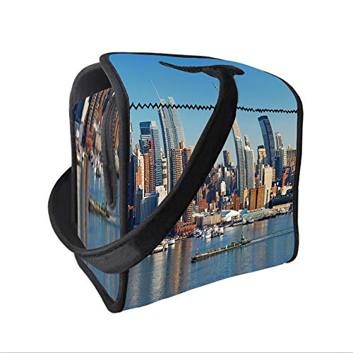 Ltd Contact Empire Paintball (Neoprene Lunch Tote Bag with Shoulder Strap,New York,Urban City Skyline Manhattan with Empire State Building over Hudson River Panorama,Blue Grey,for boys girls and adults)