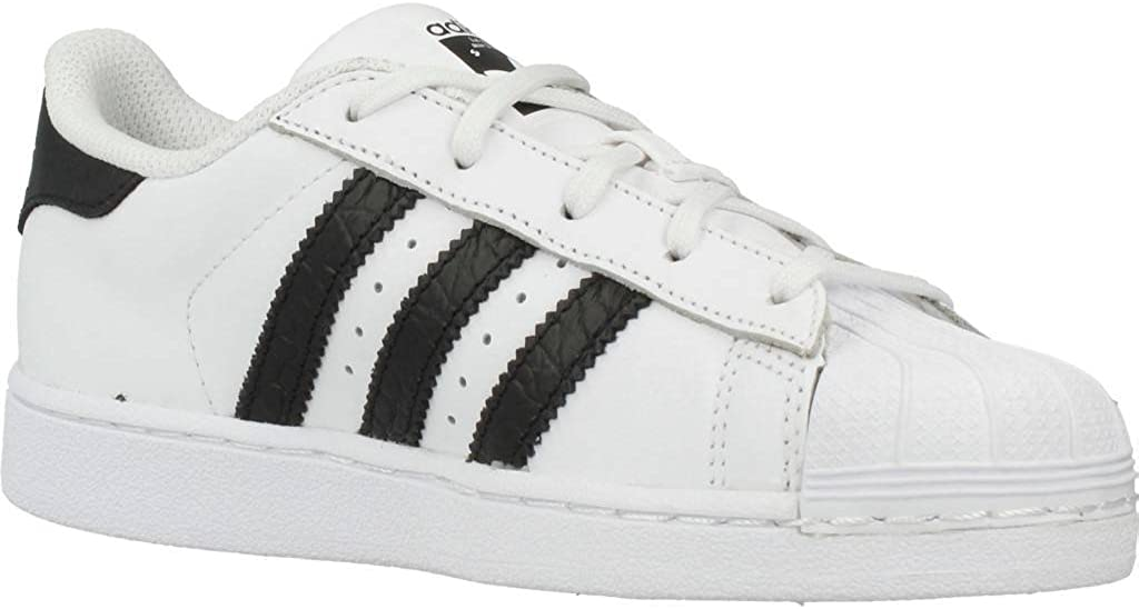 adidas Originals Superstar White/Black Leather Junior Trainers Blanc