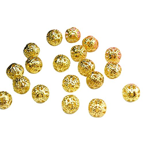 4 Mm Spacer Beads (Beading Station 200-Piece Filigree Hollow Ball Spacer Metal Beads for Jewelry Making, 4mm,)