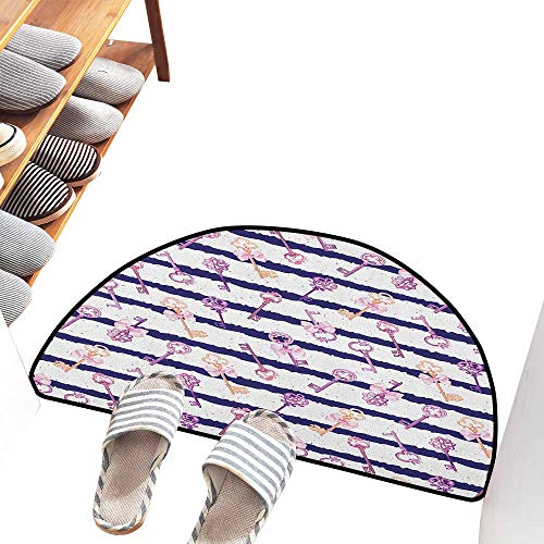 Axbkl Interesting Doormat Girls Old Medieval Vintage Keys with Ribbons and Diamonds Striped Pattern in French Style Breathability W31 xL20 Purple Blue