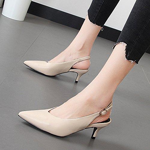 Xue Qiqi Sugerencia para seguir en la línea de zapatos, video vacías ranurado fino lazo puso pie sandalias zapatos única hembra silvestre M blanco