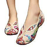 Embroidered Chinese Style Embroidery Flats Ballet Crafts Women's Shoes Red White Black (B(M) US8/EU39/UK6/CN39 Medium, Beige)
