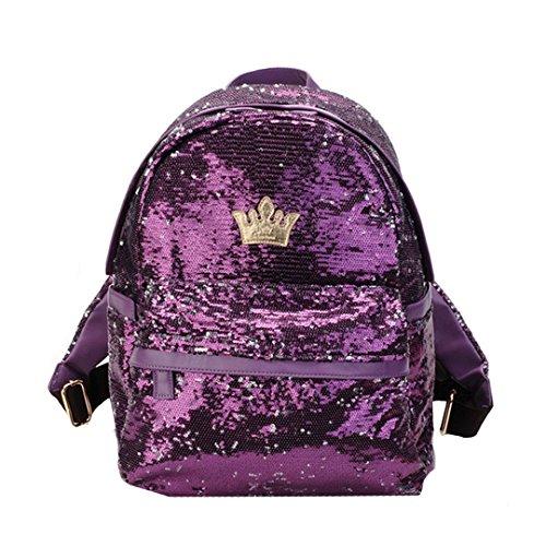 Amily Mini Bling Backpack Sequin Paillette Glitter Backpack for Girls (Purple Color)