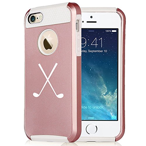(For Apple iPhone 6 6s Rose Gold Shockproof Impact Hard Soft Case Cover Crossed Golf Clubs (Rose Gold-White))