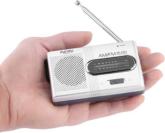BC-R21 - Miniradio portátil AM FM, antena telescópica de bolsillo, receptor mundial, altavoz, funciona con pilas
