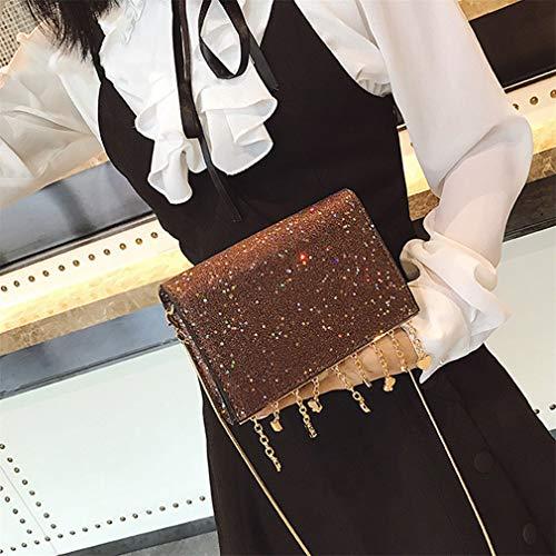 4fffbd503dee Cujubag Women Sequined Shoulder Bag Lady Chain Messenger Bags Coffee  19x13x5cm