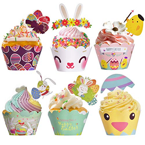 Easter Cupcake Wrappers Toppers Liners Decorations Kit Bunny Paper Baking Party Supplies 48Pcs Easter Rabbit Egg Themed -