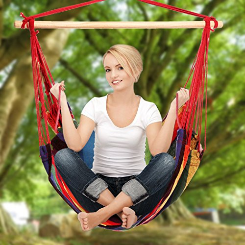 Hanging Rope Hammock Chair Porch Swing Seat for Indoor or Outdoor Spaces Max.265 Lbs with One Spreader Bar Red Green