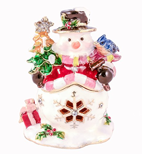 (Snowman Holding Gifts Trinket Box, Swarovski Crystal, Hand Painted Colorful Enamel Over Pewter, Inside of Box with Lovely Enamel, L 2.00 X H 2.75 X W 1.75)