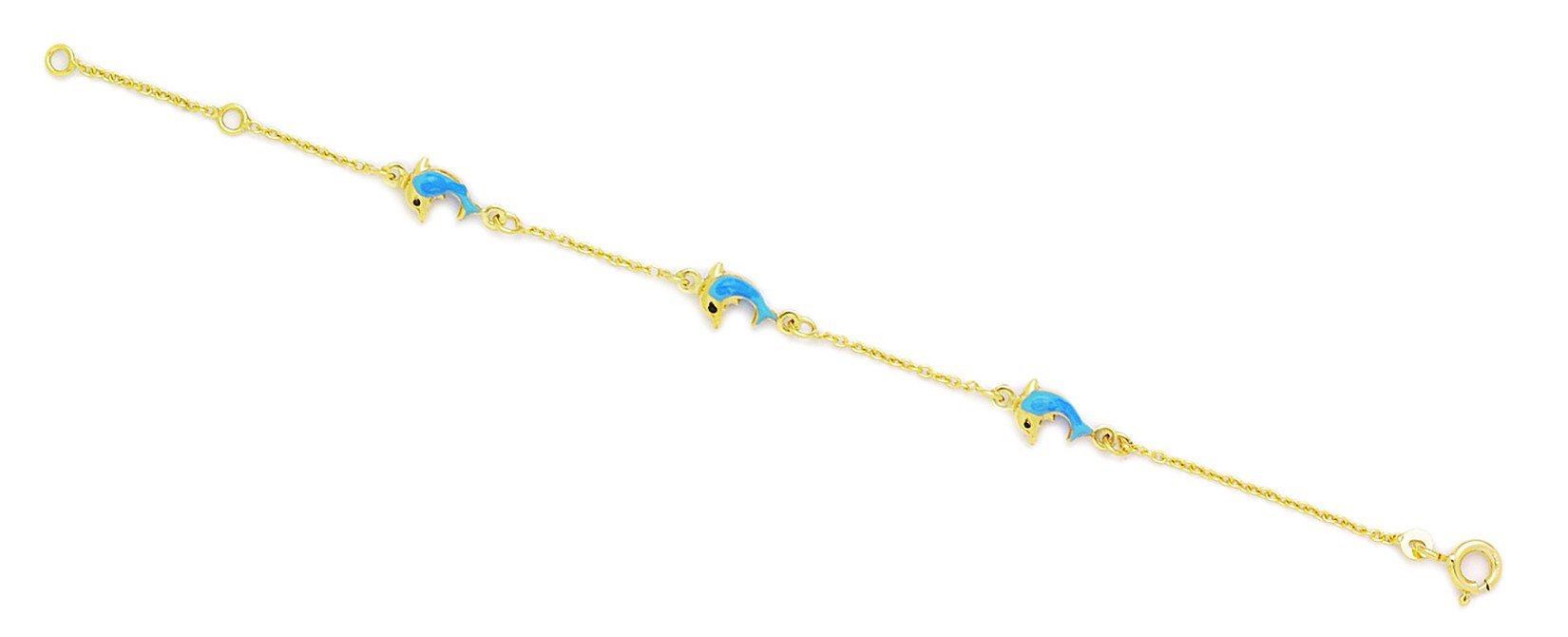 14k Yellow Gold 5.75 Inch Adjustable Three Blue Dolphins Enamel Baby Id Bracelet - Measures 6mm