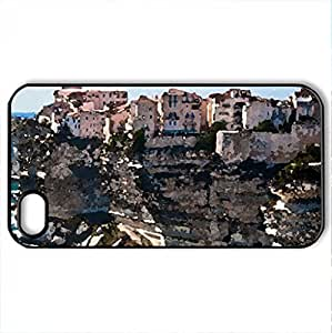 Corsica on the rocks - Case Cover for iPhone 4 and 4s (Houses Series, Watercolor style, Black)