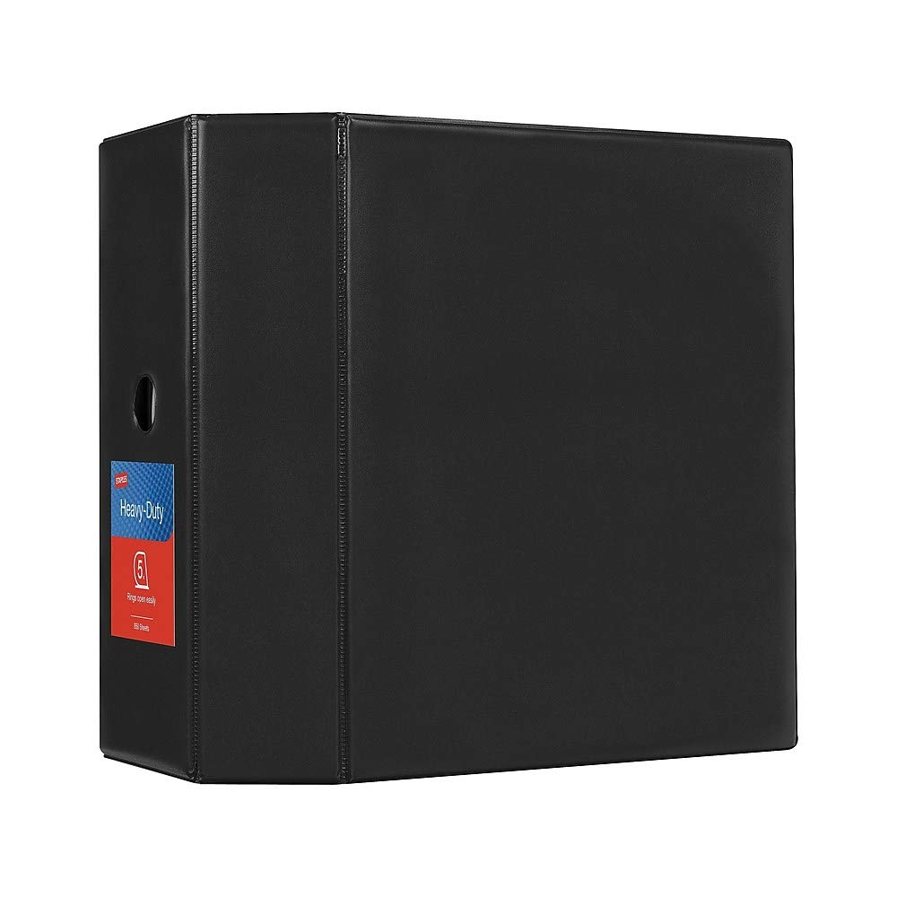 Staples 976022 Heavy-Duty 5-Inch D 3-Ring Non-View Binder Black (26312) by Staples