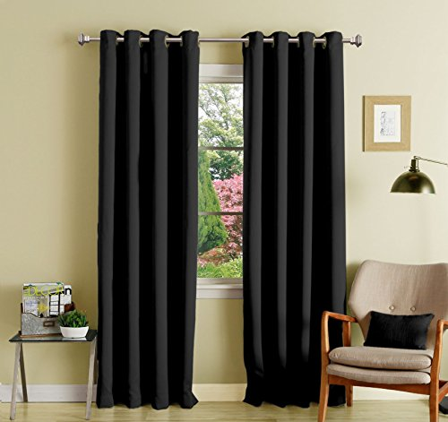 black polyester blackout curtains