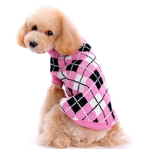 Bolbove Pet Argyle Knitted Turtleneck Sweater for Small Dogs & Cats Knitwear Cold Weather Outfit (Deep Pink, (Cats In Outfits)