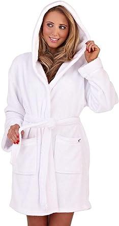 TALLA L. Undercover Lingerie Ltd Vestidos de Lujo Suaves del paño Grueso y Suave Coralino de Lujo de Las Mujeres con la Capilla