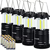 LED Camping Lantern - LED Camping Lantern, Costech Cob Light Ultra Bright Collapsible Lamp, Portable Hanging Flashlight for Outdoor Garden Hiking Fishing (4 Pack)