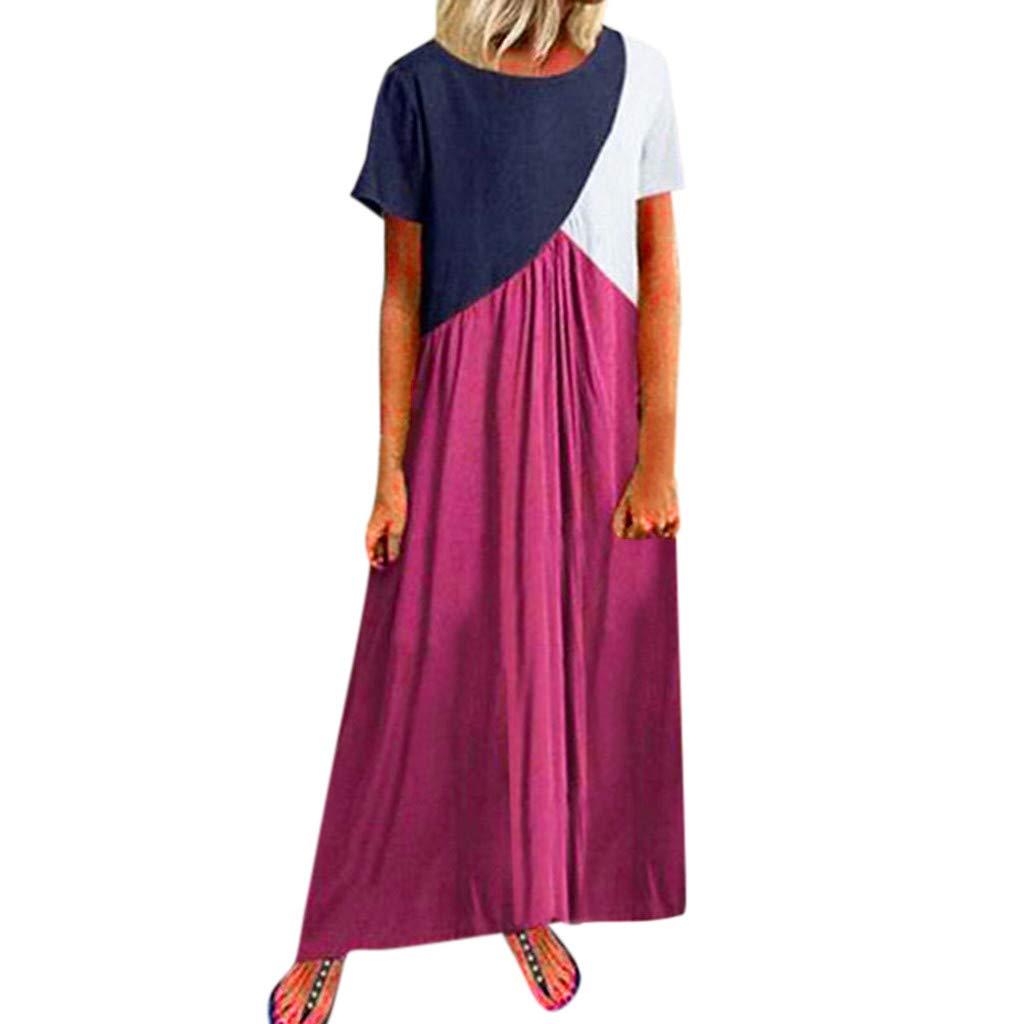 holitie Vêtements Robe Longue Femme Mode Femme Robe décontractée à Manches Courtes pour Femmes,col Rond, Longue Robe Ample