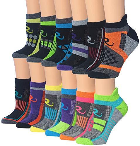 (Ronnox Women's 12-Pairs Low Cut Running & Athletic Performance Tab Socks (X-Small/Small (womens shoe: 5 6 7), Colorful Sports) RLT12-AB-XS)