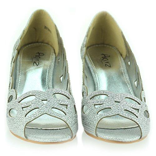 Mujer Señoras Noche Fiesta Boda Peeptoe Diamante Tacón de Cuña Sandalias Zapatos Talla Plateado