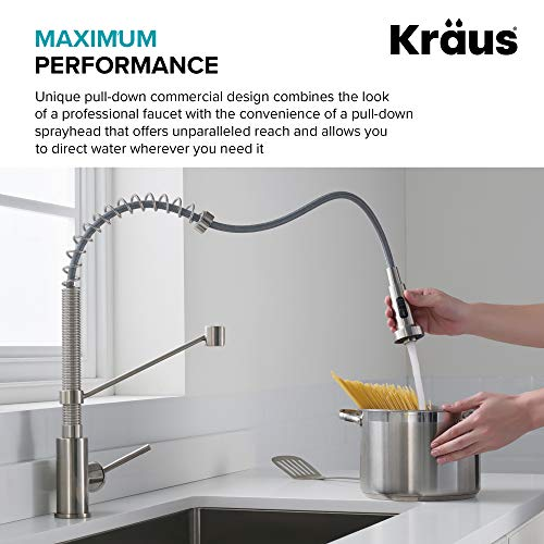Kraus KPF-1610BG Bolden 18-Inch Commercial Kitchen Faucet with Dual Function Pull-Down Sprayhead in all-Brite Finish, 18…
