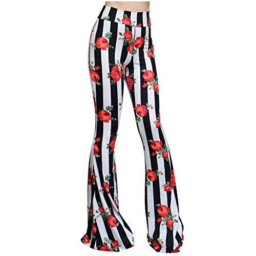 ShopMyTrend SMT Women's High Waist Wide Leg Long Bell Bottom Yoga Pants X-Large Striped Black White. Flower Red