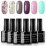 nail polish 2 colors gel - Gellen Various 6 Romantic Colors Gel Nail Polish Starter Kit Set