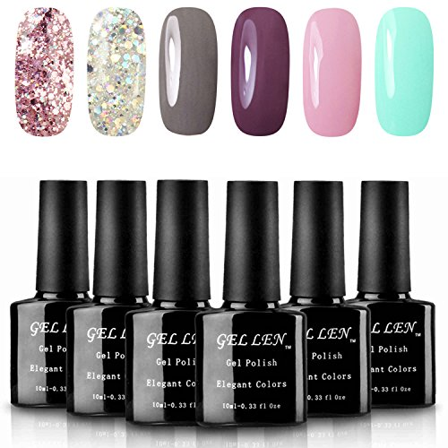 Gellen Various 6 Romantic Colors Gel Nail Polish Starter Kit Set