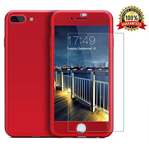 iPhone 7 Plus case/iPhone 8 Plus case,360 Full Body Protection Anti-Scratch Resistant Slim Case Non Slip Surface with Tempered Glass Screen Protector for iPhone 7 Plus/iPhone 8 Plus (Red)