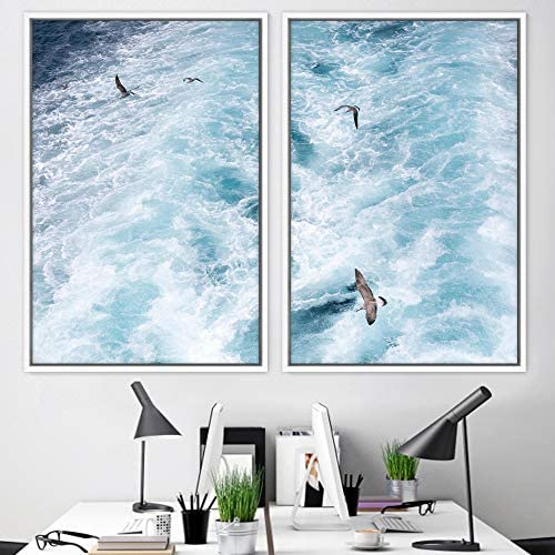 signwin 2 Piece Framed Canvas Wall Art Coastal Beach Canvas Prints Home Artwork Decoration