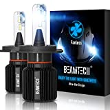 BEAMTECH H4 LED Headlight Bulb,Fanless CSP Y19 Chips 8000 Lumens 6500K Xenon White 9003 Hi/Lo Extremely Bright Conversion Kit of 2