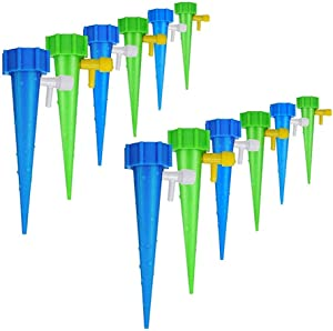 Adjustable Self Watering Spikes, Indoor Outdoor Plastic Bottle Automatic Garden Plants Drip Irrigation Slow Release System/Works as Watering Bulbs or Globes Stakes with Screw Valve-12 Pack