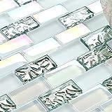 1x2 Subway Glass Mosaic Tile Super White with Iridescent Finish Art Mosaics for Kitchen Bath Backsplash TSTNB04-SAMPLE (1 Sample [3'' x 6''])