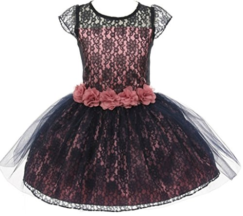 AkiDress Lace Over Charmeuse Satin Flower Girl Dress for Little Girl DustyRose 12