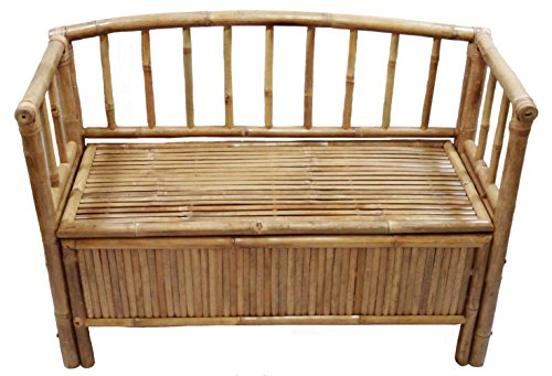 (Bamboo Storage Bench with Arms and Hinged Seat in Natural)