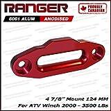 "Ranger Aluminum Hawse Fairlead For 2000-3500 LBs ATV Winch 4 7/8"" (124MM) Mount by Ultranger Glossy (Red)"