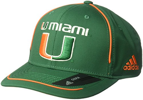adidas NCAA Miami Hurricanes Adult Men Pre-Curved Structured Adjustable, One Size, Green (Ncaa Hurricanes Player Miami)
