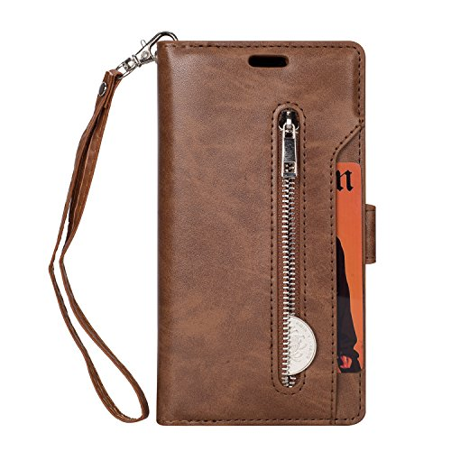 - LG K20 Plus Case, LG K20 V/LG K20 / LG K10 2017 / LG LV5 Case, Folice Zipper Wallet Case [Magnetic Closure]& 9 Card Slots, PU Leather Kickstand Wallet Cover Durable Flip Case (Brown)